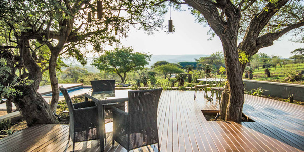 Mavela Game Lodge Deck swimming pool Manyoni Private Game Reserve Zululand Rhino Reserve Luxury Tented Camp