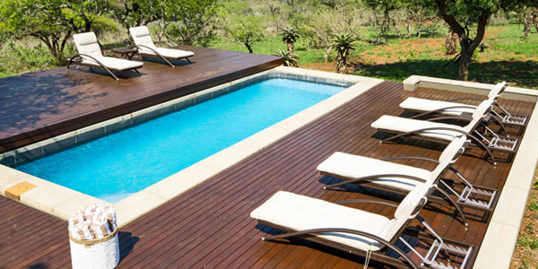Mavela Game Lodge Swimming pool rexal deck Manyoni Private Game Reserve Zululand Rhino Reserve Luxury Tented Camp