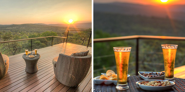 Mavela Game Lodge Deck Drinks Sunset Manyoni Private Game Reserve Zululand Rhino Reserve Luxury Tented Camp