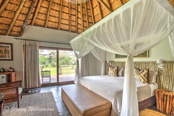 Double Rooms with en-suite Bathrooms at Rhino River Lodge in the Manyoni Private Game Reserve (Zululand Rhino Reserve), KwaZulu-Natal, South Africa